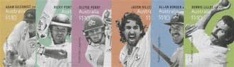 AUS 26/03/2021 Australian Legends (25th Series): Cricket self-ad set 6 from booklets (exSB742-7)
